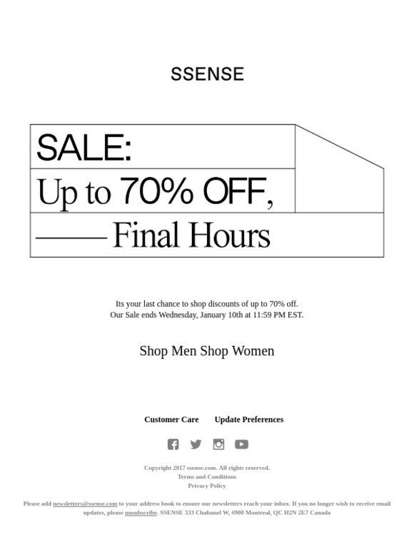 97a170743 SSENSE  Final hours  Sale up to 70% off