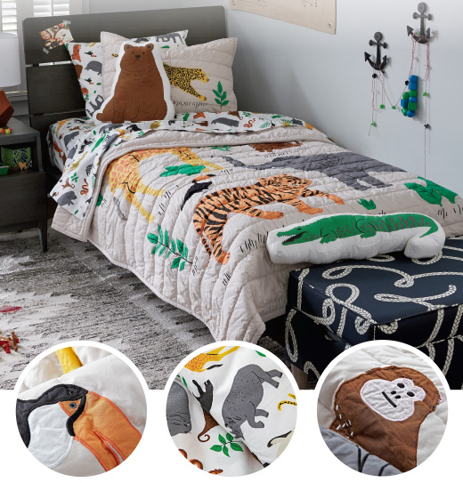 Applique Jungle Animal Bedding