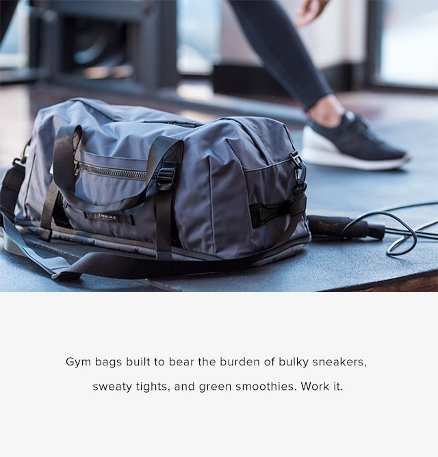 Gym bags built to bare the burden of bulky sneakers, sweaty tights, and green smoothies. Work it.