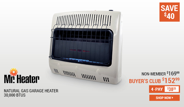 Mr. Heater Natural Gas Garage Heater, 30,000 BTUs