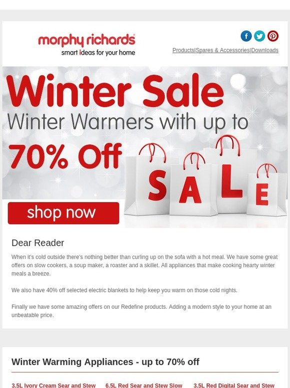Morphy Richards: Reader, Winter Warmers   Up To 70% Off | Milled