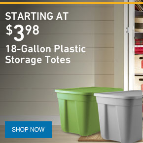 18-Gallon Plastic Storage Totes Starting at $3.98.