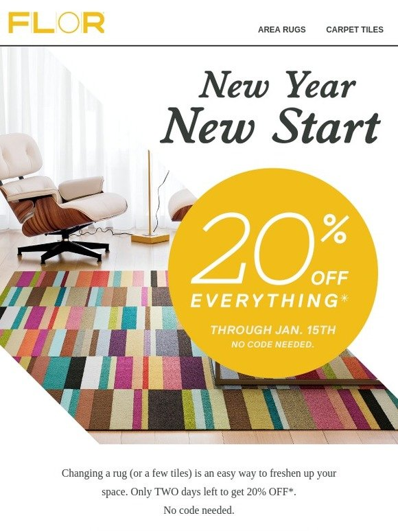 FLOR: 🏃 Hurry! 20% Off Ends Monday. | Milled
