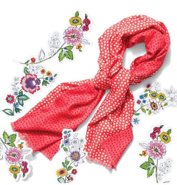 Reversible Scarf in Coral Meadow