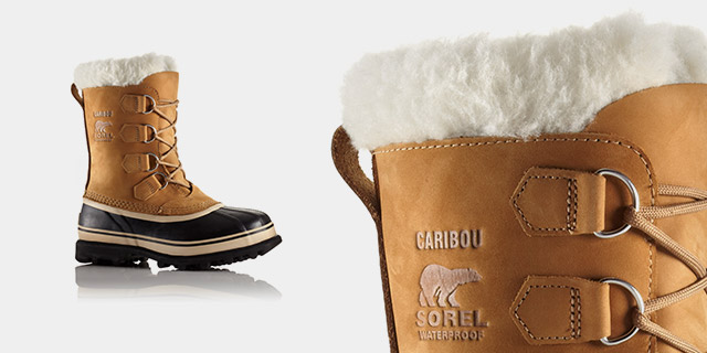 A profile view of snow boots.