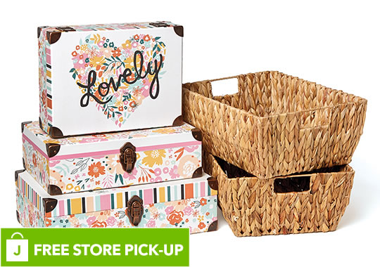 Organizing Essentials Decorative Storage and Baskets. FREE Store Pick-Up.
