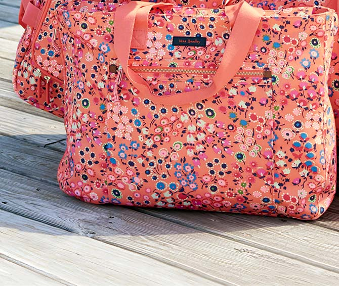 Lighten Up Expandable Tote in Coral Meadow