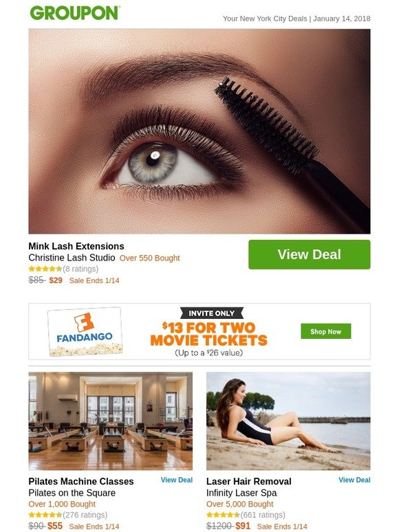 Groupon Mink Lash Extensions Milled