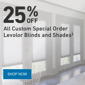 25 PERCENT OFF All Custom Special Order Levolor Blinds and Shades.