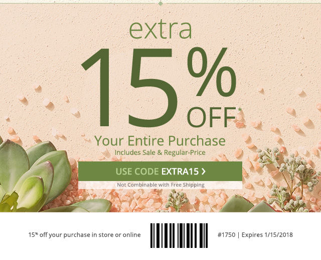 Final day! Extra 15% off your entire purchase. Use code EXTRA15.