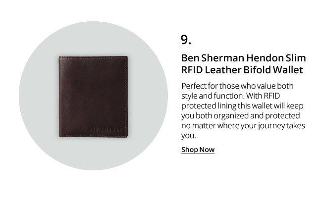 Ben Sherman Hendon Slim RFID Leather Bifold Wallet
