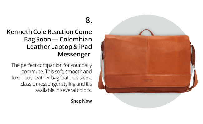Kenneth Cole Reaction Come Bag Soon Colombian Leather Laptop & iPad Messenger