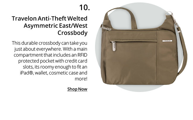 Travelon Anti-Theft Welted Asymmetric East/West Crossbody