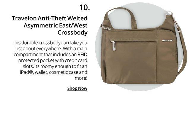 Travelon Anti-Theft Welted Asymmetric East/West Crossbody