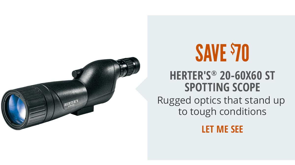 Save $70 on Herter's 20-60x60 ST Spotting Scope