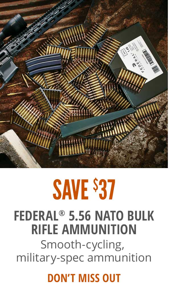 Save $37 on Federal 5.56 NATO Bulk Rifle Ammunition
