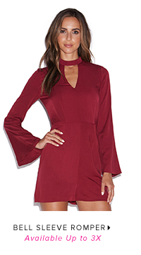 BELL SLEEVE ROMPER AVAILABLE UP TO 3X