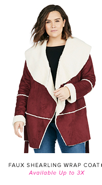 FAUX SHEARLING WRAP COAT AVAILABLE UP TO 3X