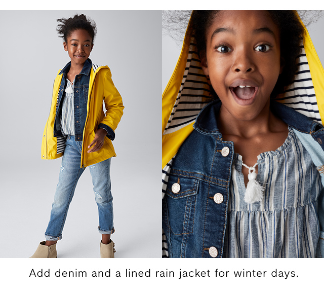 Add denim and a lined rain jacket for winter days.