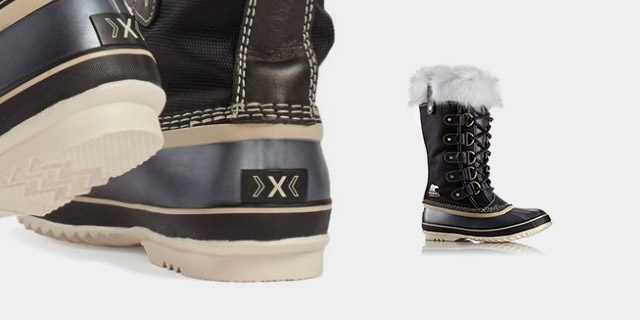 A close-up and profile view of the Joan snow boot.