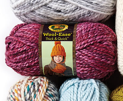 Lion Brand Wool Ease Thick and Quick and Scarfie Yarn.