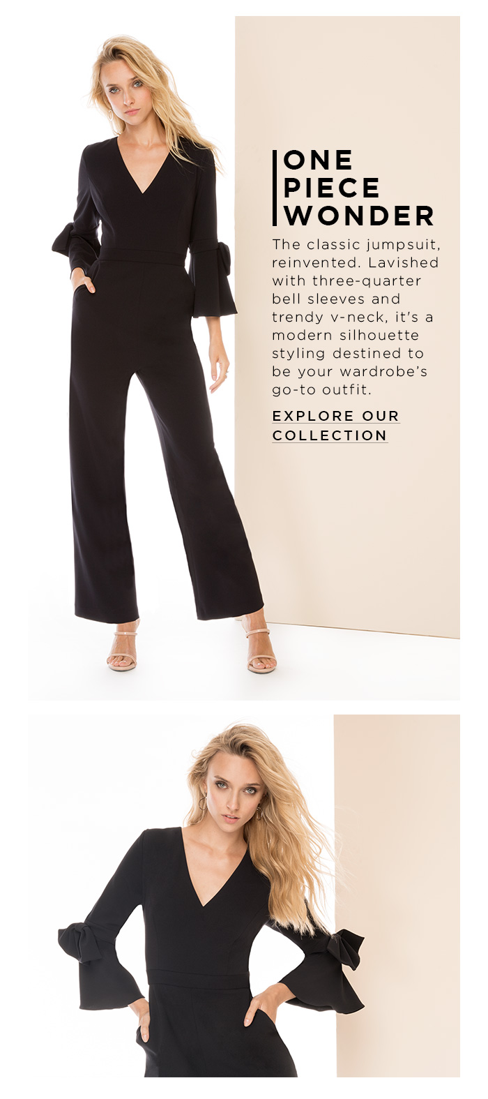 2f0e0838a9917 The classic jumpsuit, reinvented. Lavished with three-quarter bell sleeves  and trendy v