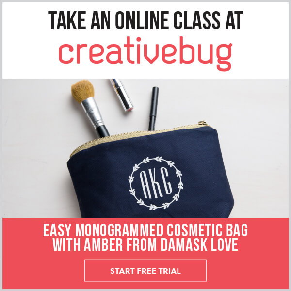Take an online class at Creativebug. Easy Monogrammed Cosmetic Bag with Amber from Damask Love. START FREE TRIAL.