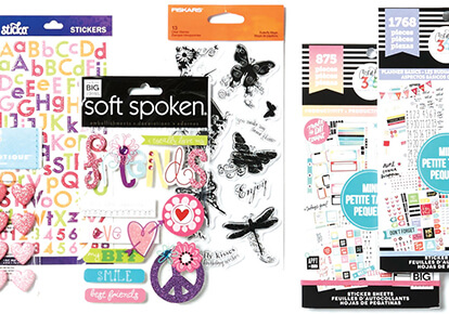 Embellishments, Stickers and Journaling.