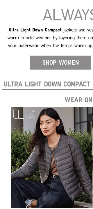 ULTRA LIGHT DOWN COMPACT JACKETS - NOW $49.90 - SHOP WOMEN
