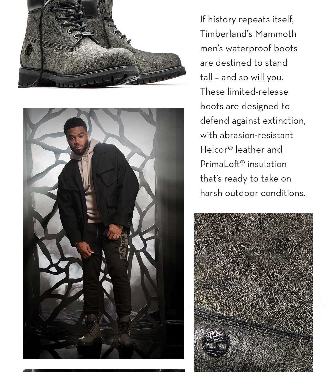 If history repeats itself, Timberland's Mammoth men's waterproof boots are destined to stand tall - and so will you. These limited-release boots are designed to defend against extinction, with abrasion-resistant Helcor leather and PrimaLoft insultion that's ready to take on harsh outdoor conditions.