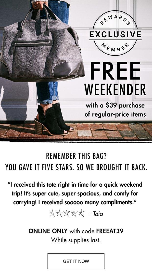 DSW: Re: That FREE weekender!   Milled