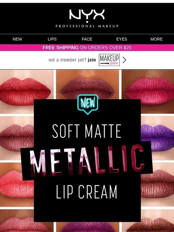 Nyx Cosmetics New Soft Matte Metallic Lip Cream Milled