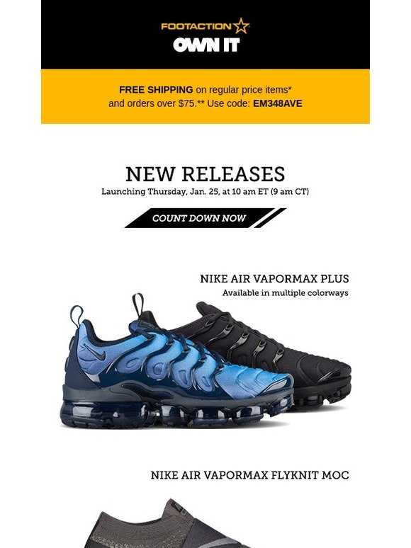 the latest b0204 0c692 Footaction : Nike Air VaporMax Plus, Flyknit Moc, and more ...