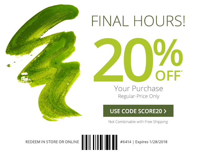 Final hours! 20%* off your regular-price purchase. Use core SCORE20.