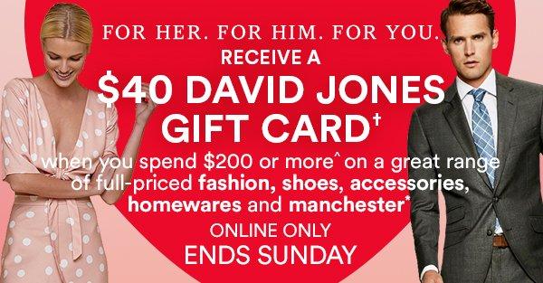 David Jones Receive A 40 David Jones Gift Card Milled