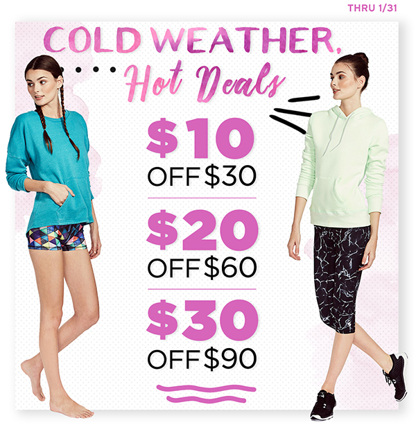 Get $10 off when you spend $30, $20 off $60 and $30 off $90 through 1/31!