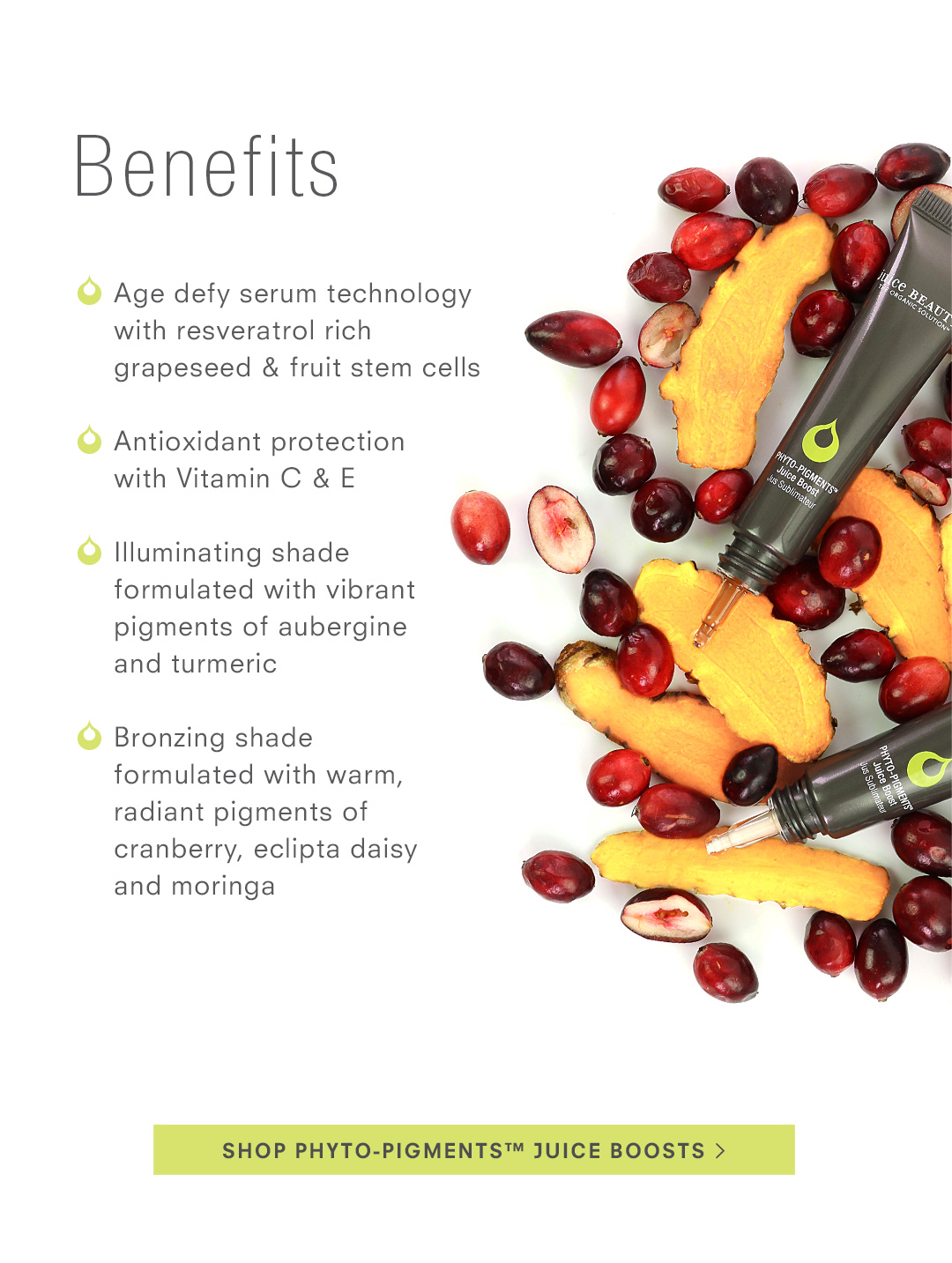 Benefits of PHYTO-PIGMENTS Juice Boost
