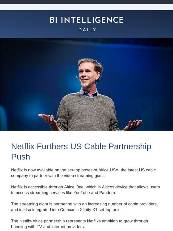Business Insider: Netflix furthers US cable partnership push | Milled