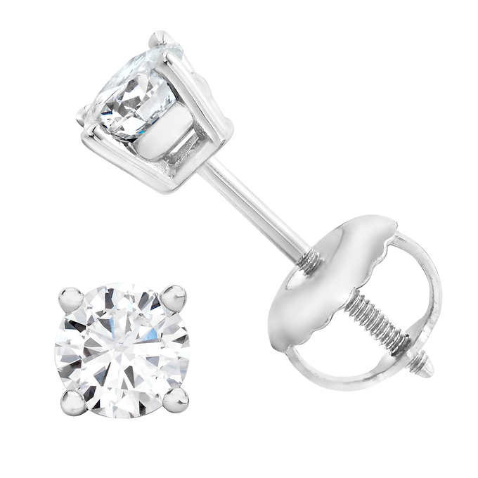 9667133bf Round Brilliant 0.46 ctw VS2 Clarity, I Color Diamond 14kt White Gold  Screwback Stud Earrings