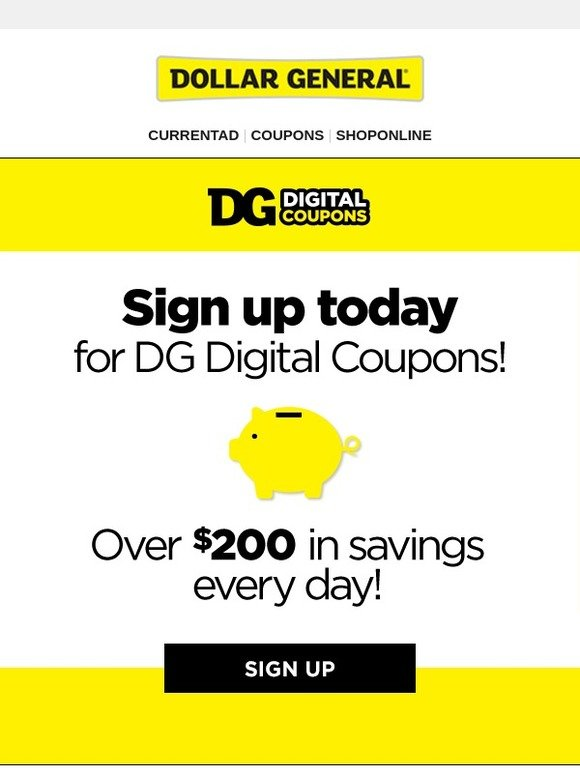 Dollar General Save Over 200 When You Sign Up For Dg Digital Coupons Milled
