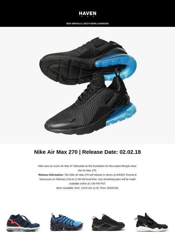 b2e9ea5e9820 Haven  Releasing Soon - Nike Air Max 270   adidas Ultraboost Laceless Black