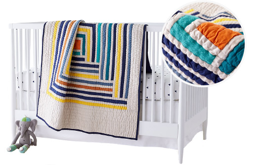 Suzy Quilts Campfire Modern Geometric Baby Quilt
