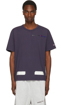 839ca5f64187 Off-White - Navy Champion Reverse Weave Edition T-Shirt