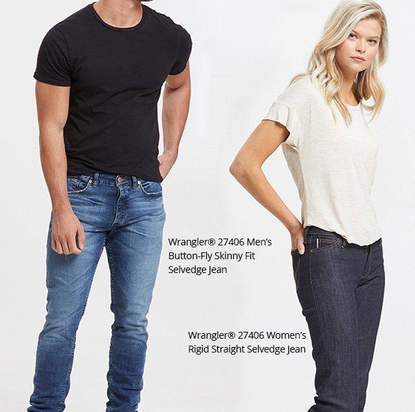 Wrangler 27406 Men s Button-Fly Skinny Fit Selvedge Jean   Wrangler 27406  Women s Rigid Straight 0bce01ad4