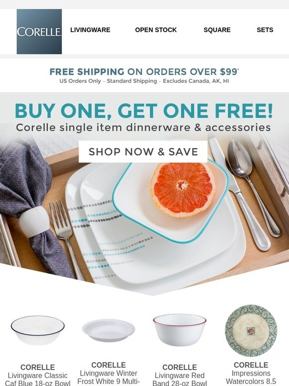 Corelle: Dinnerware & More - Buy One Get One FREE | Milled