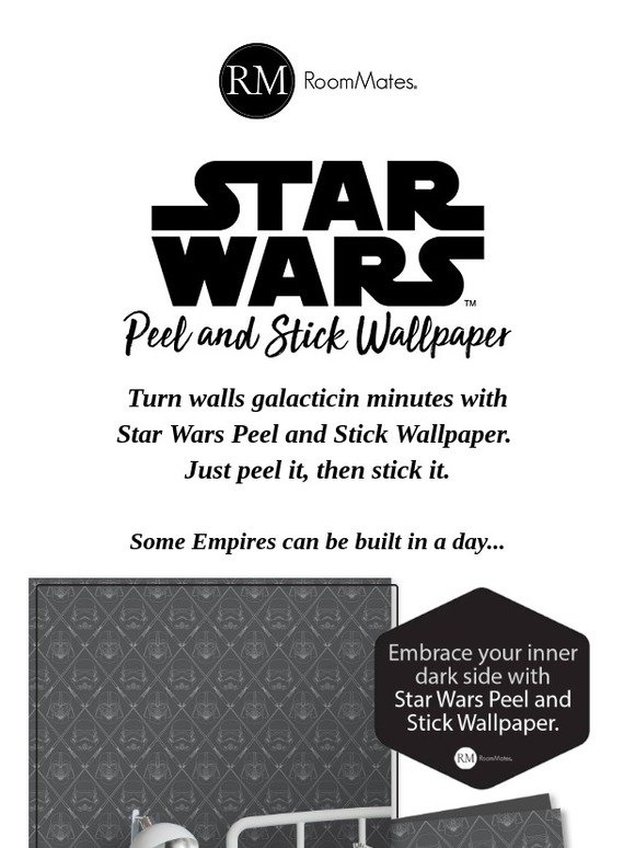 Roommates Peel Stick It S Here Star Wars Peel Stick Wallpaper Milled