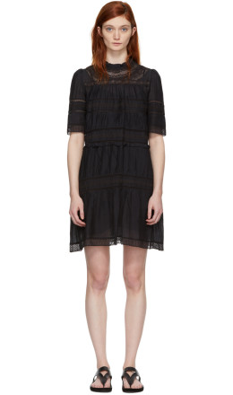 Isabel Marant Etoile - Black Lace-Trimmed Vicky Dress