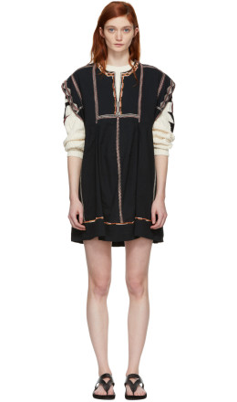 Isabel Marant Etoile - Black Embroidered Belissa Dress
