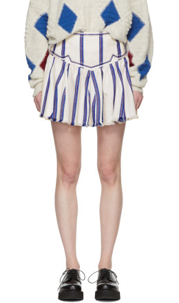 Isabel Marant Etoile - White Striped Delia Skirt