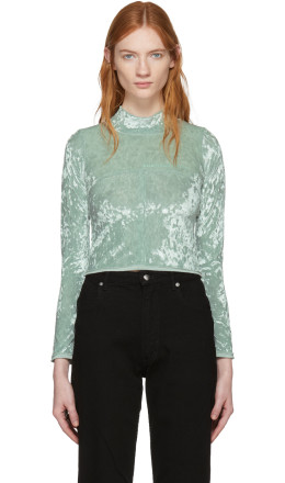 Eckhaus Latta - Green Velvet Lapped Baby Turtleneck
